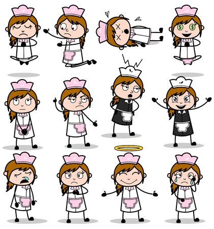 Comic Waitress Poses - Set of Concepts Vector illustrations