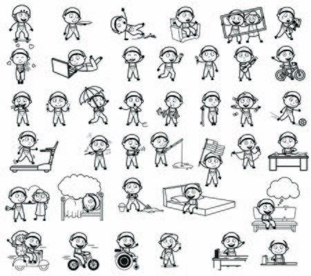Dibujo de personaje de reparador cómico retro - Conjunto de ilustraciones de vectores de conceptos