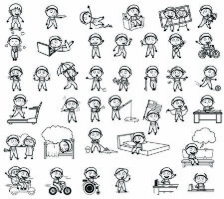 Retro Comic Repairman Character Drawing - Set of Concepts Vector illustrations