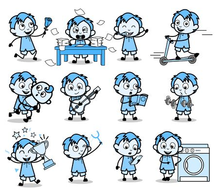 Vintage Office Guy Characters - Set of Concepts Vector illustrations Ilustração