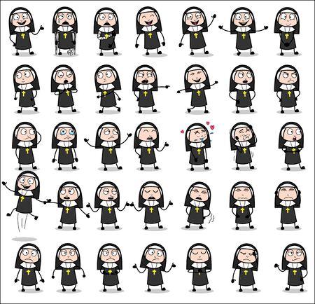 Cartoon Nun Lady Poses - Set of Concepts Vector illustrations