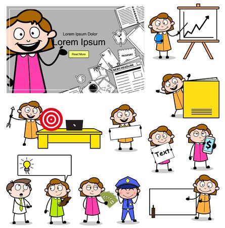 Office Girl - Set of Comic Worker Concepts Vector illustrations Çizim
