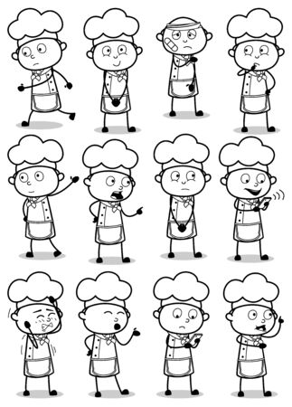 Drawing Art of Comic Chef Poses - Set of Concepts Vector illustrations
