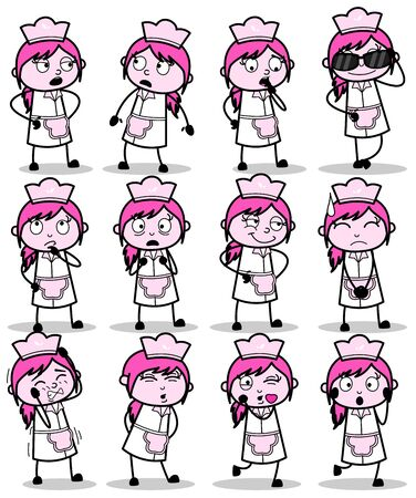 Collection of Cartoon Waitress Poses - Set of Concepts Vector illustrations