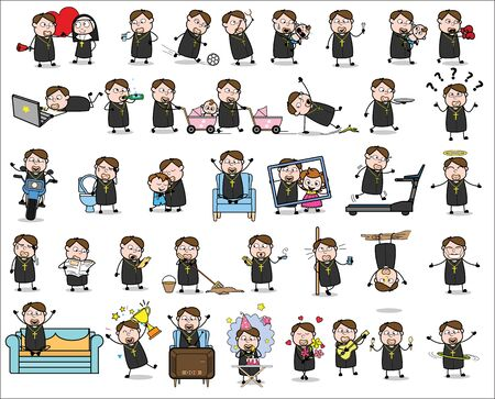 Cute Cartoon Priest Monk - Set of Concepts Vector illustrations
