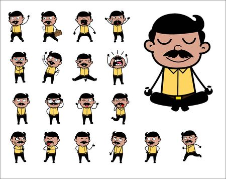 Collection of Indian Man Poses - Set of Concepts Vector illustrations