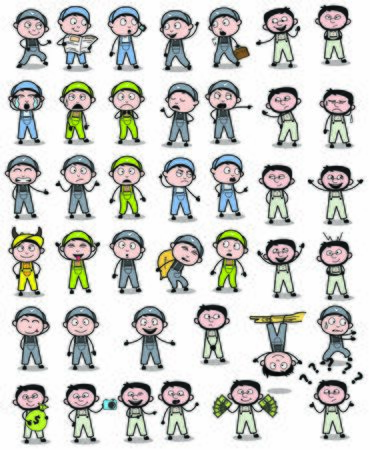 Comic Repairman Character Poses - Collection of Concepts Vector illustrations Illusztráció