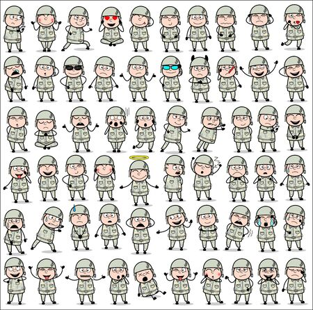Comic Army Man Poses - Collection of Concepts Vector illustrations Stock Illustratie