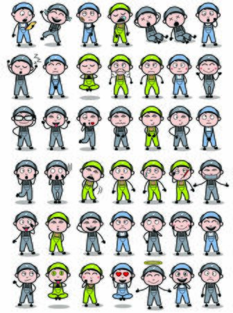Poses of Cartoon Repairman Character - Set of Concepts Vector illustrations