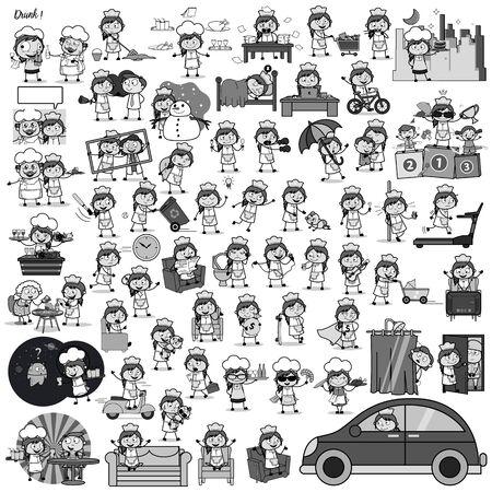 Retro Cartoon Waitress - Set of Concepts Vector illustrations