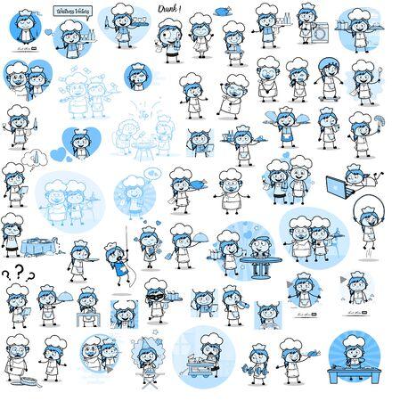 Cartoon Waitress - Set of Concepts Vector illustrations
