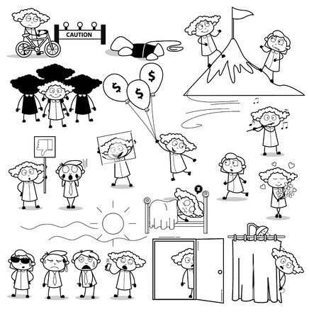 Black and White Concepts of Office Lady - Set of Concepts Vector illustrations