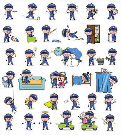 Comic Policeman Cop Character - Set of Concepts Vector illustrations