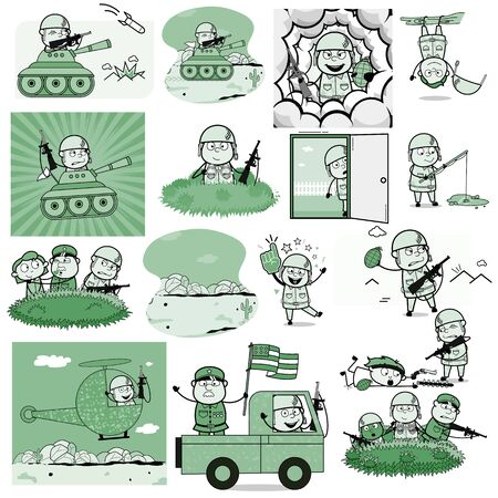 Various Vintage Comic Army Man - Collection of Concepts Vector illustrations