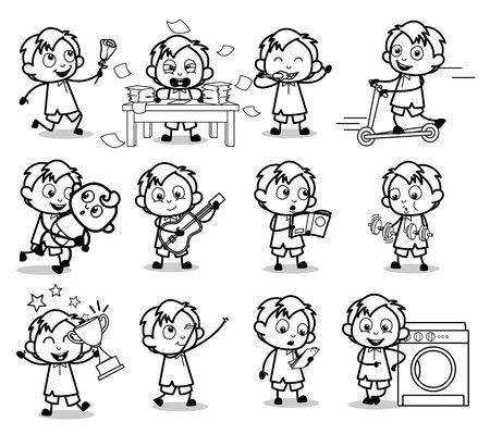 Comic Retro Office Guy Characters - Set of Concepts Vector illustrations Ilustração
