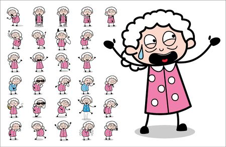 Concepts of Many Old Granny Character - Set of Concepts Vector illustrations