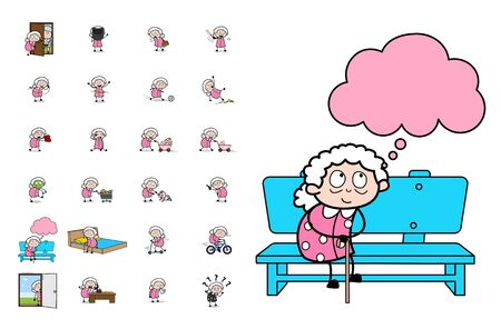 Various Cartoon Old Granny - Set of Concepts Vector illustrations Ilustração