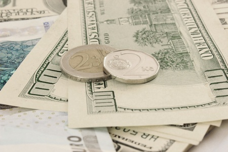 dollars Euro and Czech money photo