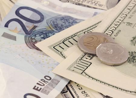 Euro dollars and Czech money photo