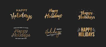 Happy Holidays Gold Vector Holiday Text Set Illustration 向量圖像