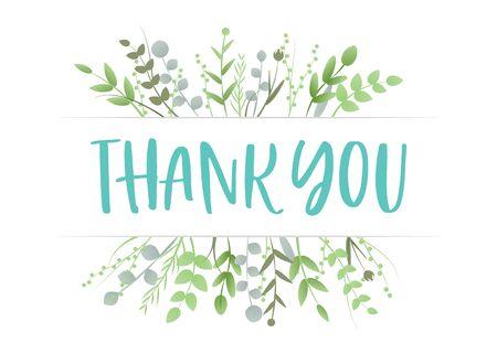 Gracias Agradecimiento Agradecimiento Hojas Florales Tipografía Moda Fondo Vector Ilustración de vector
