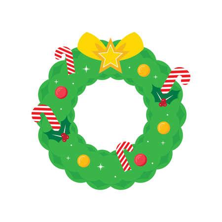 Christmas Holiday Wreath Vector Illustration Icon Background 矢量图像