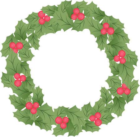 Traditional Christmas Holiday Wreath Garland Evergreen Mistletoe Vector Illustration Vettoriali