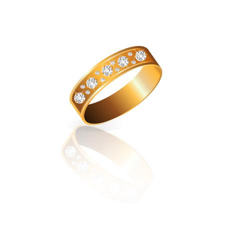 gold ring: gold ring with diamonds with diamonds Illustration