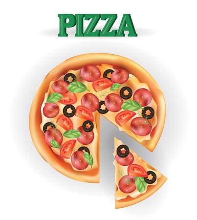 Pizza. Imagen del vector de carnes de pizzas creativas. Icono de pizza italiana. Una rebanada de pizza para el diseño de publicidad para su negocio de restaurante. Foto de archivo - 69471932
