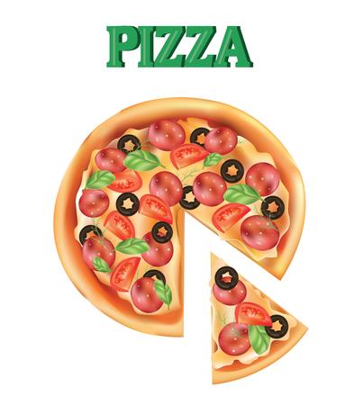 Pizza. A piece of Italian pizza. Vector illustration. Pizza icon Illustration