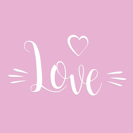 Happy Valentines day handwritten lettering card. February 14 modern calligraphy with romantic illustration. Love inscription on pink romantic background.