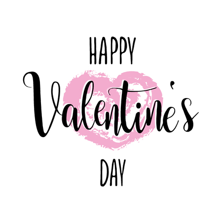 fourteen: Happy Valentines Day February 14 vector card romantic heart pink modern calligraphy