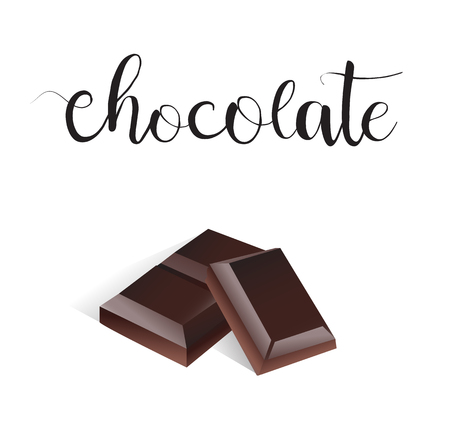 dark chocolate: Chocolate slice vector. Dark chocolate realistic art