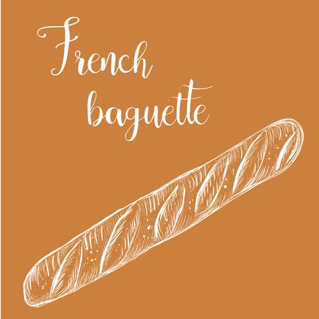 French baguette, bread long loaf sketch illustration Vectores