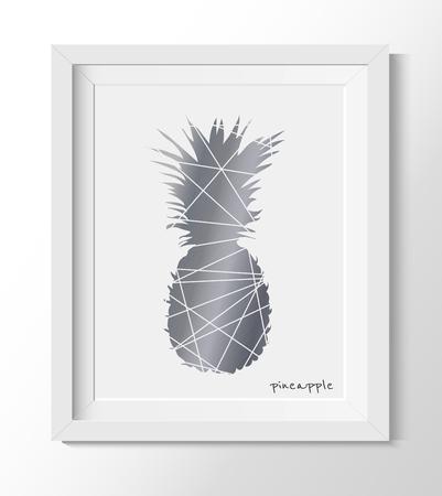 Pineapple In a white frame. Vector illustration Pineapple Wall Print, Poster, Modern.  Art trending room decor. Gray printable Pineapple.