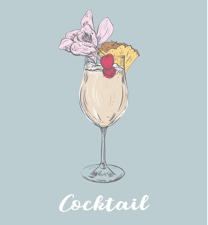 Cocktail summer sketch illustration with pineapple and flower and cherry. Hand drawing vector illustration. Poster summer time