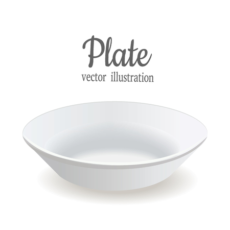 porcelain plate: The plate is deep. White plate vector illustration