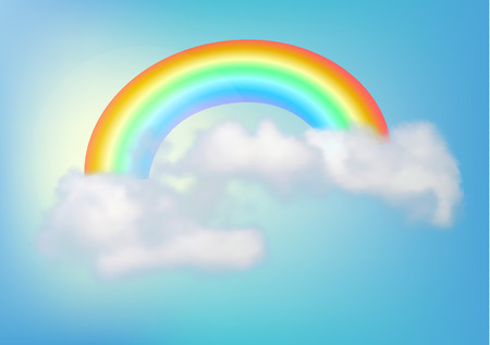 rainbow in the sky with a cloud. Vector illustration Illustration