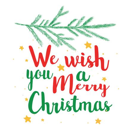 Ti auguriamo un felice testo di calligrafia natalizia. illustrazione vettoriale cartolina, poster, banner.