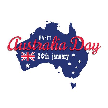 Happy Australia day 26 january festive with flag. design for banner, poster, flyer, card. Australian flag vector illustration