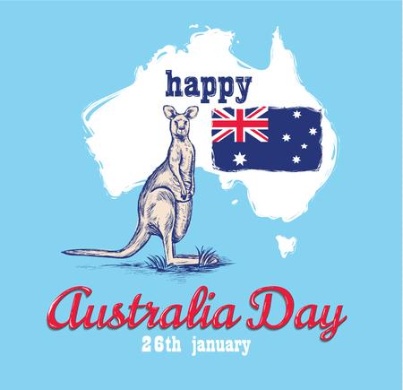 Happy Australia day 26 janvier festive avec drapeau et kangourou. conception de bannière, affiche, flyer, carte. Illustration vectorielle drapeau australien