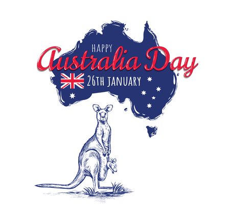 Happy Australia day 26 january festive with flag and kangaroo. design for banner, poster, flyer, card. Australian flag vector illustration Illustration