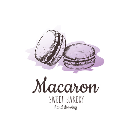 Macaron, macaroon almond cakes, macaron sketch. macaroon style vector. macaron, macaroon biscuits, sweet and beautiful dessert