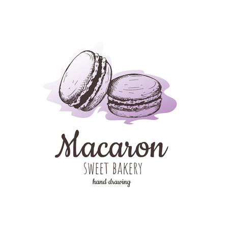 Macaron, macaroon almond cakes, macaron sketch. macaroon style vector. macaron, macaroon biscuits, sweet and beautiful dessert