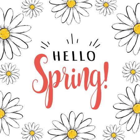 こんにちは春。こんにちはヒナギクと春のグリーティングカード。こんにちは春ベクトルイラスト