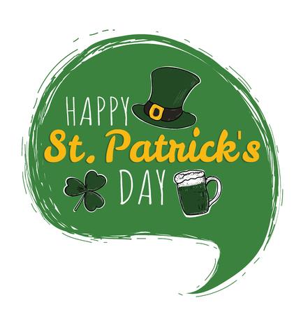 Happy Saint Patricks Day logotype. St. Patricks Day hand drawn typography. Hand sketched Irish celebration design. Beer festival lettering typography icon.  Illustration