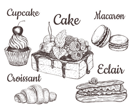 Cake, cupcake, croissant, macaron. pastry desserts  set.  Cakes, biscuits, baking, cookies, pastries, eclair, muffin, cheese cake, croissant, meringue hand drawing vintage style.