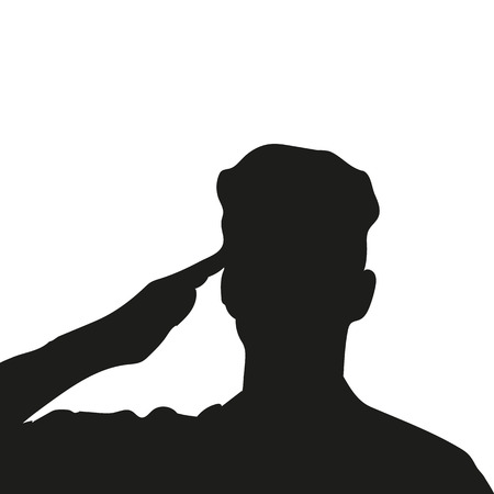 Silhouette of an unknown soldier. Silhouette of a military man