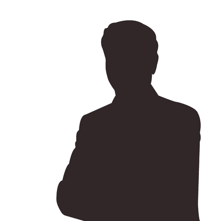 Silhouette of man vector illustration. Unknown male person illustration.