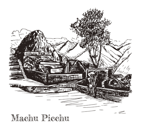 Ruin of ancient civilization Machu Picchu. Peru, sketch